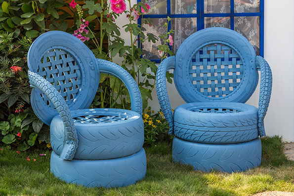 Upcycled tyre chairs