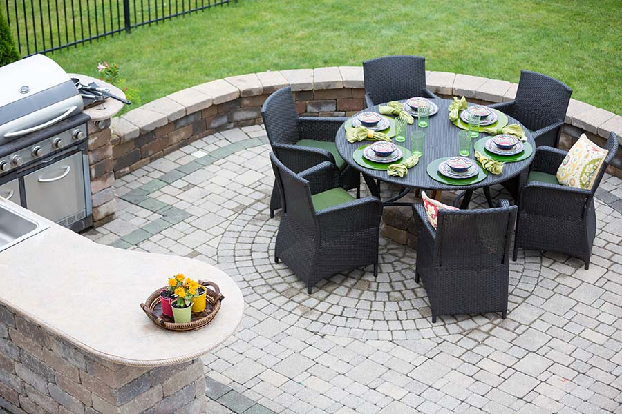 garden furniture and bbq on patio