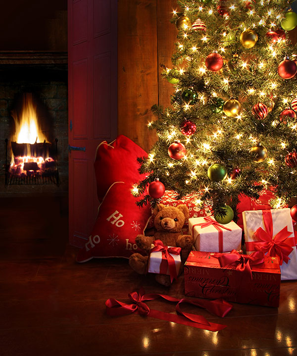 Beautiful Christmas tree and fire
