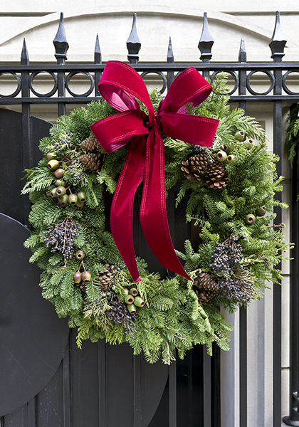 Christmas wreath on gate