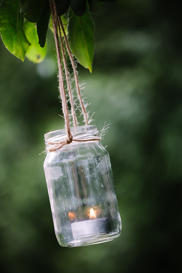 Upcycled jar lantern with candle