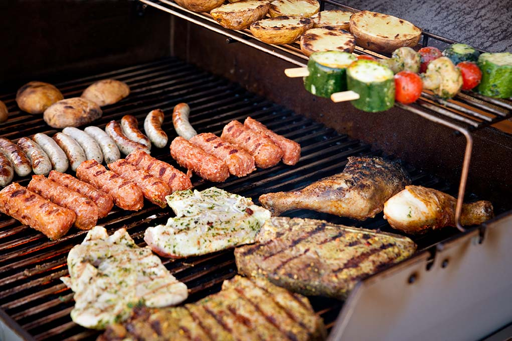 Meat and veg on BBQ
