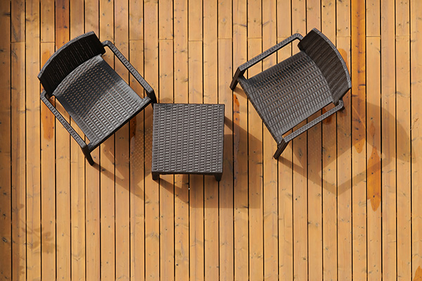 Decking and rattan garden furniture