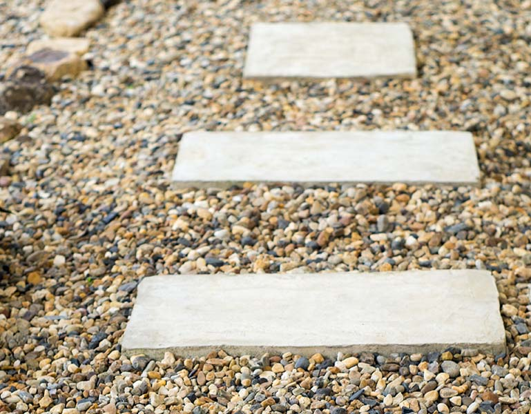 pebbles and paving