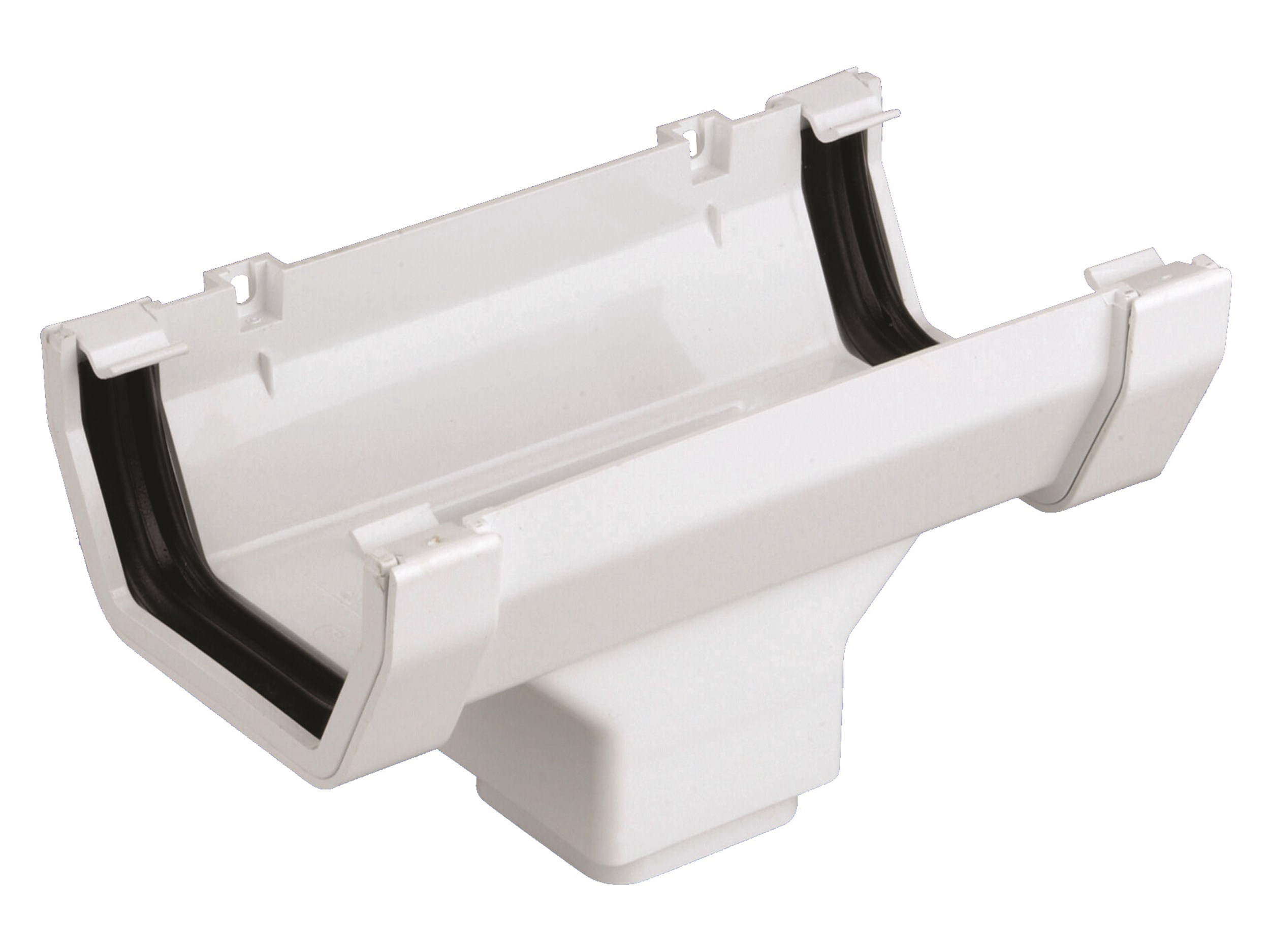 Wavin White Pvc Running Gutter Outlet 100mm Gutter