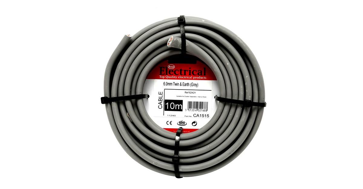 Best Electrical Twin Earth Grey Wiring Cable 6mm Diy Shed Wire
