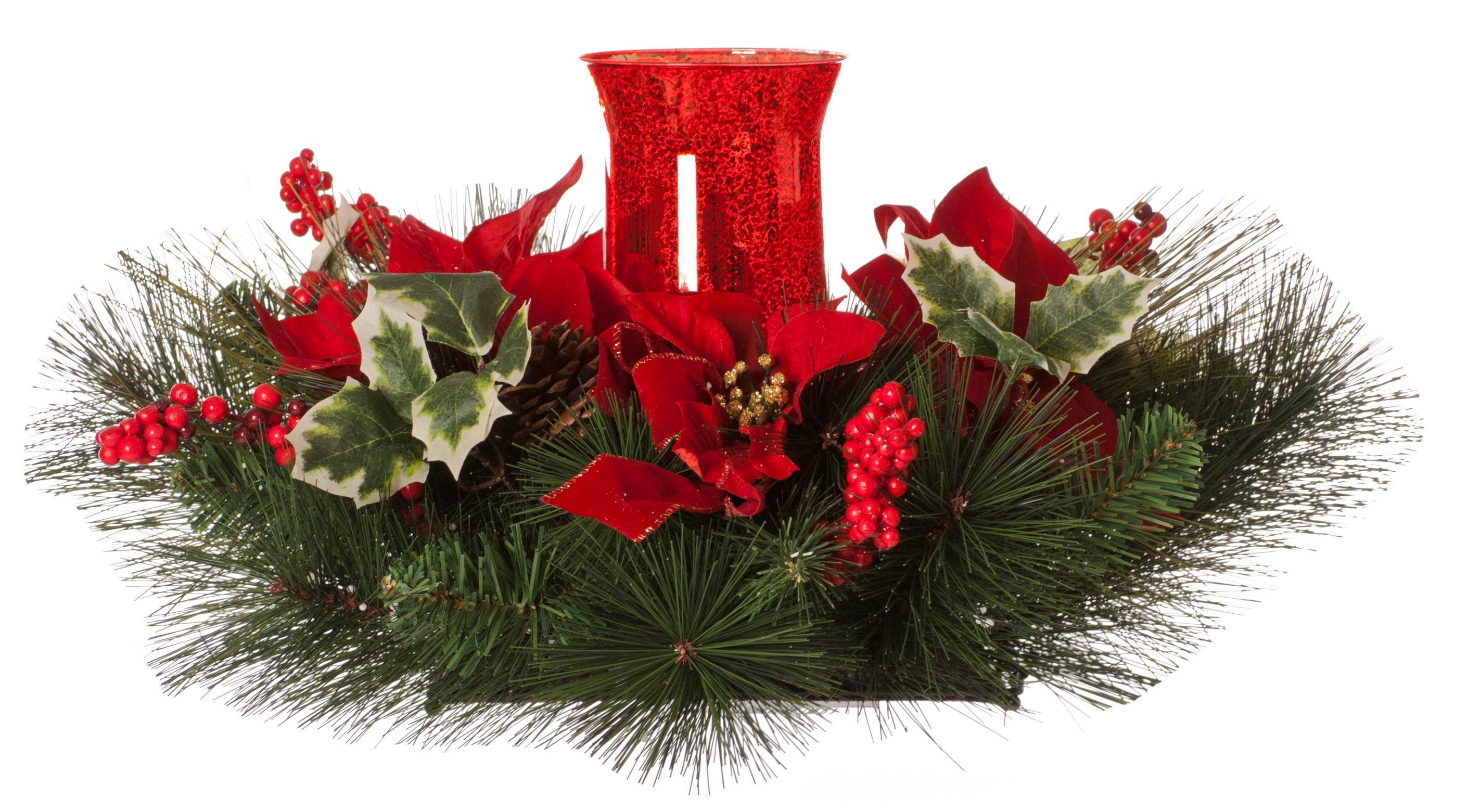 Festive Christmas Table Centrepiece Candle Holder Red Christmas