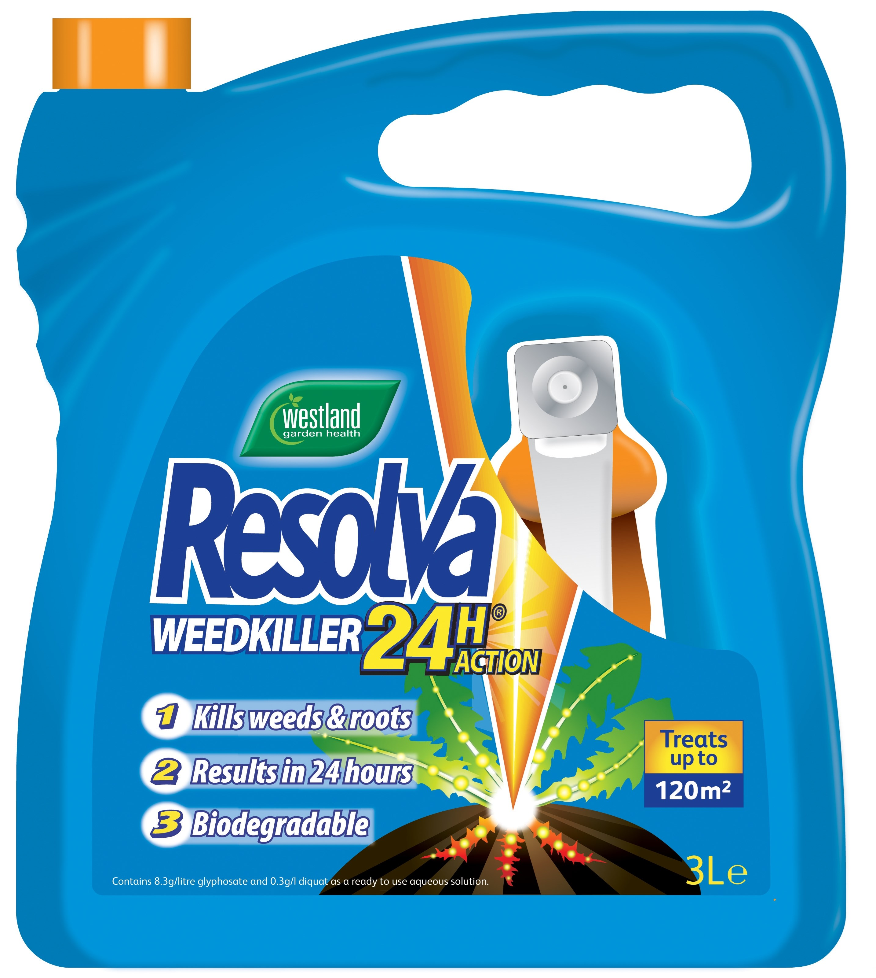 westland 24 hour ready to use weed killer 3 litre spray. Black Bedroom Furniture Sets. Home Design Ideas