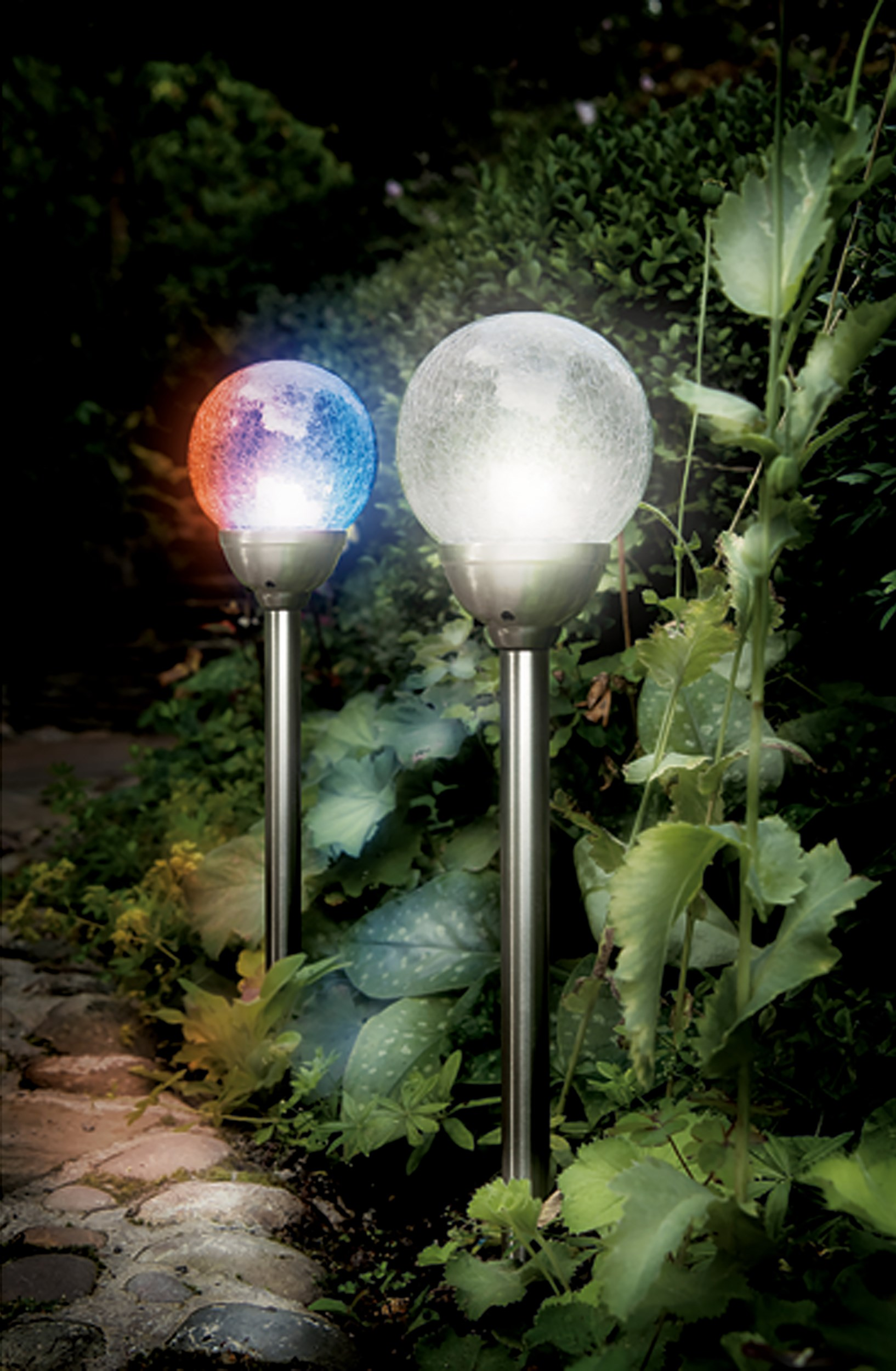 Cole Amp Bright Solar Stainless Steel Ice Orb Border Light