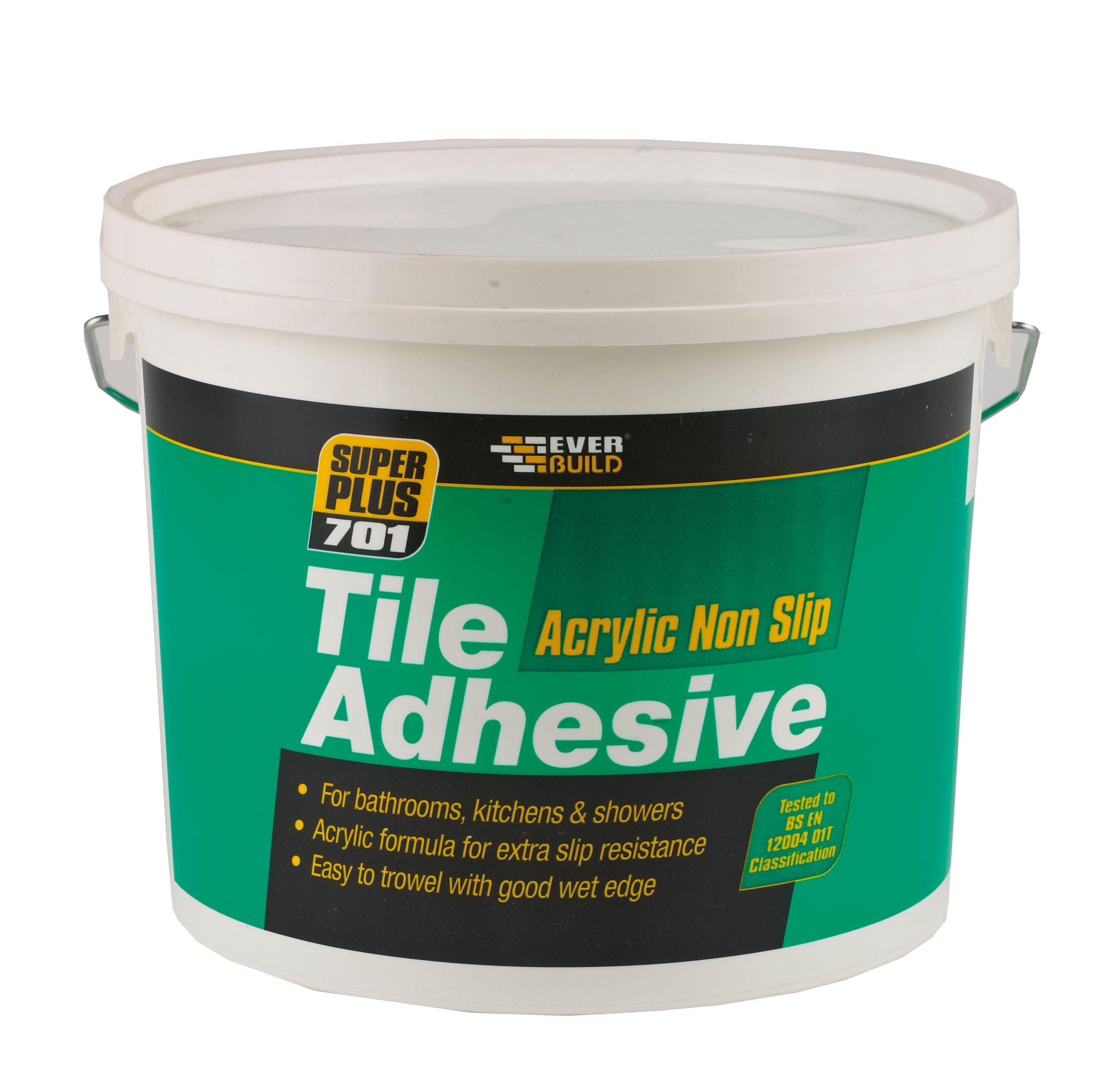 Bathroom Tile Adhesive And Grout: Everbuild 701 Non Slip Tile Adhesive - 10 Litre
