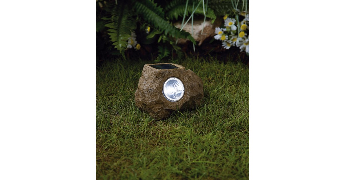 Premier Decorations Small Solar Rock Light White