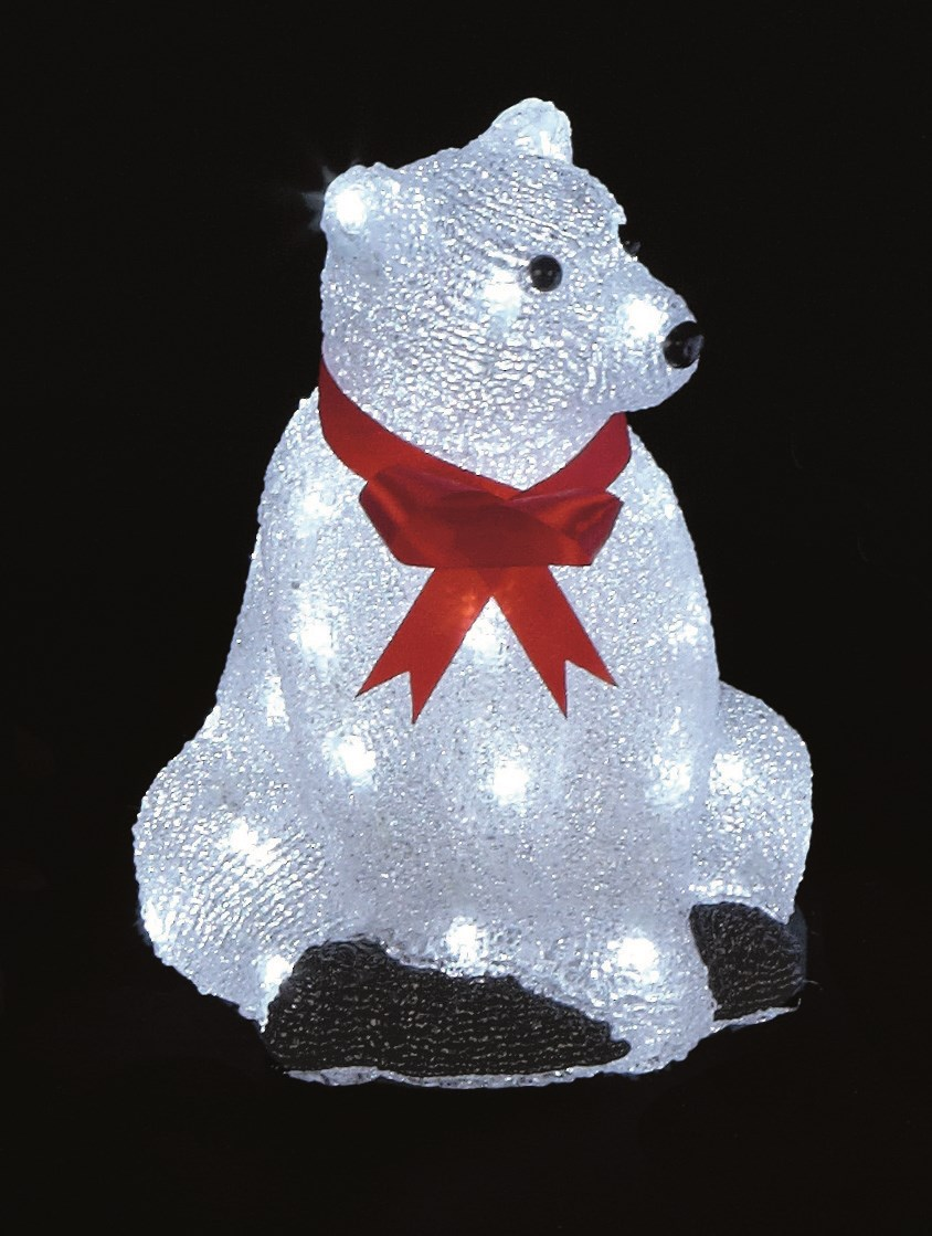 premier decorations sitting light up acrylic lit polar bear 30cm - Pre Lit Polar Bear Christmas Decoration Set Of 3