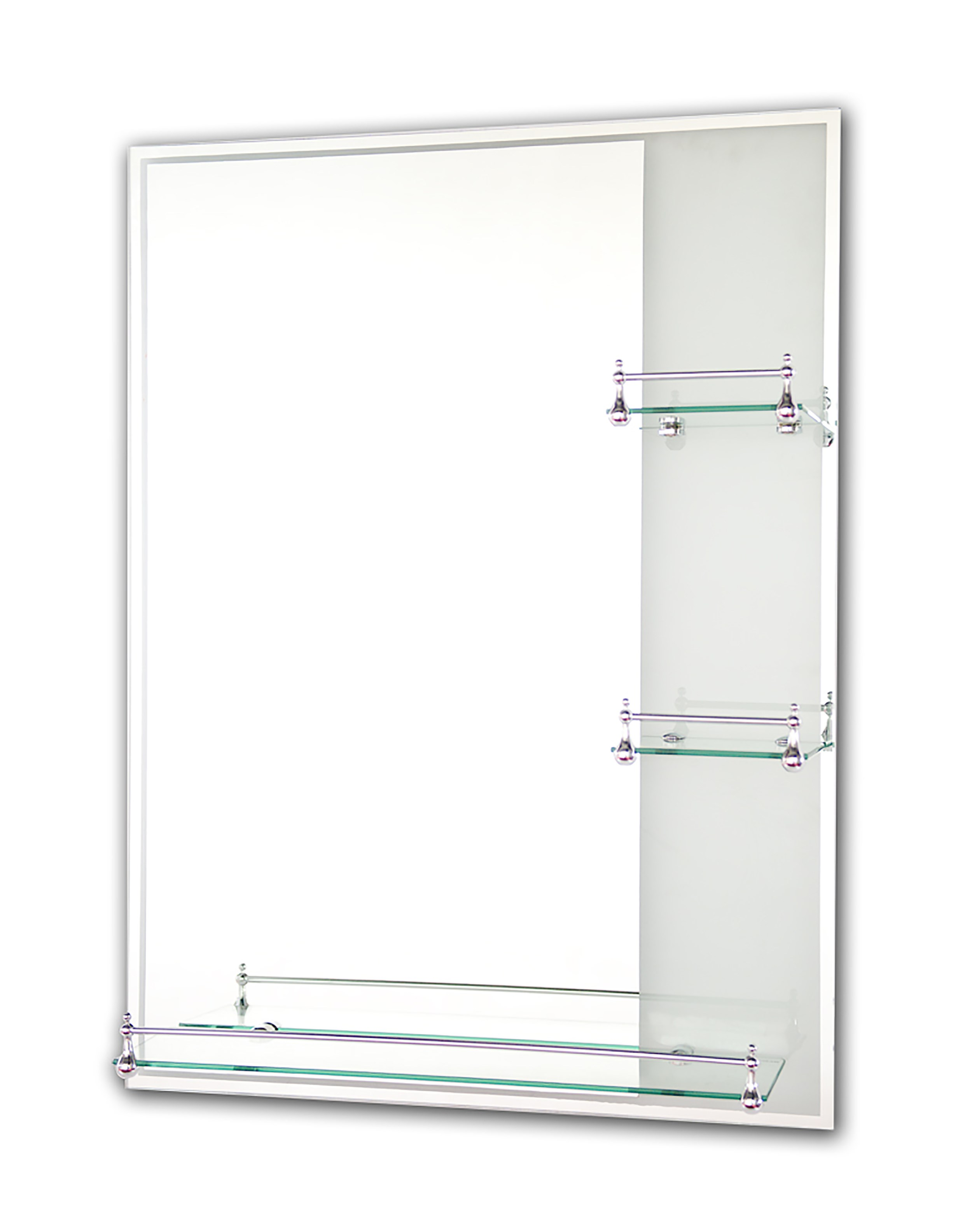 Tema Etched Rectangular Mirror with 3 Shelves - 80 x 60cm | Bathroom ...