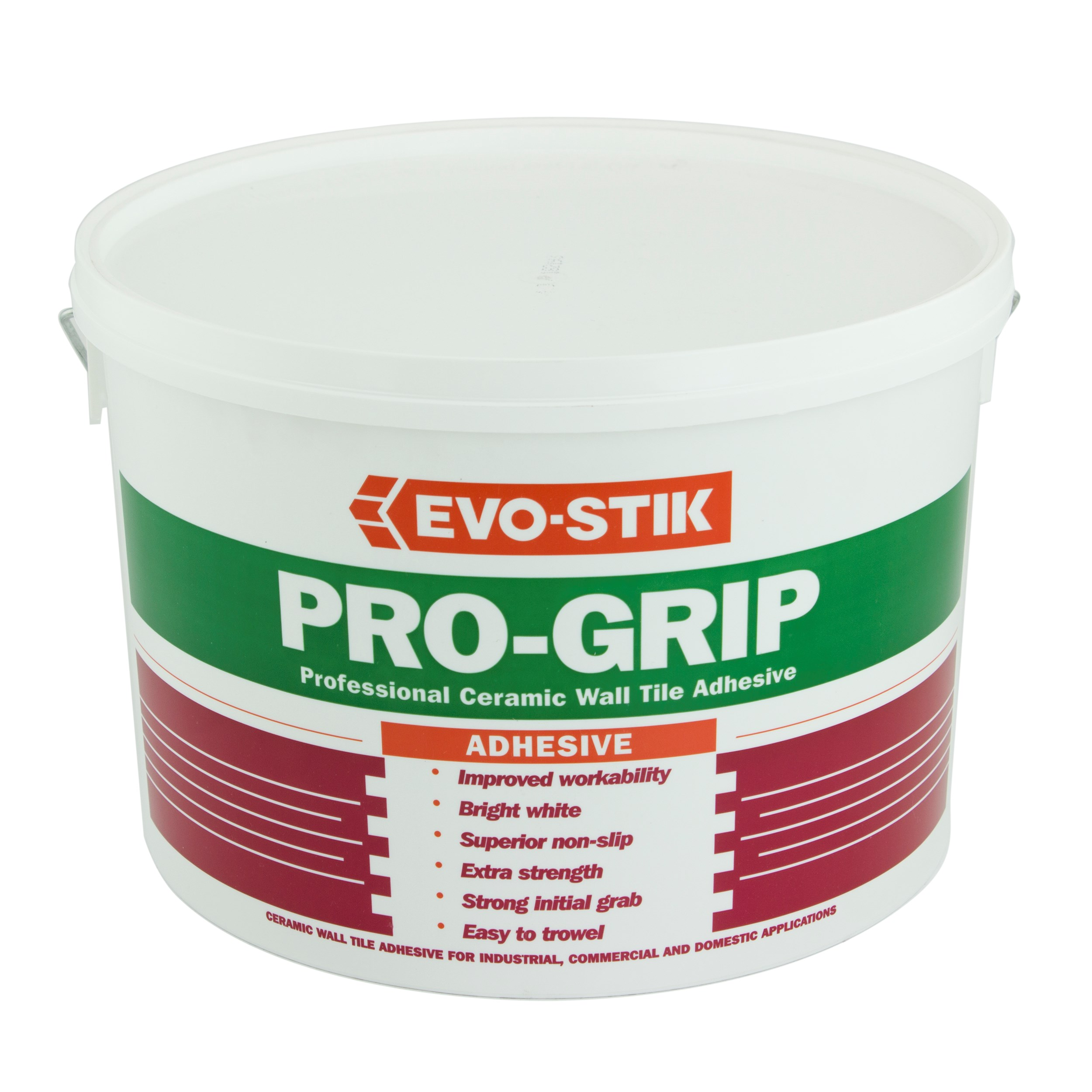 Bathroom Tile Adhesive And Grout: Evo-Stik Pro-Grip Wall Tile Adhesive 16kg - White