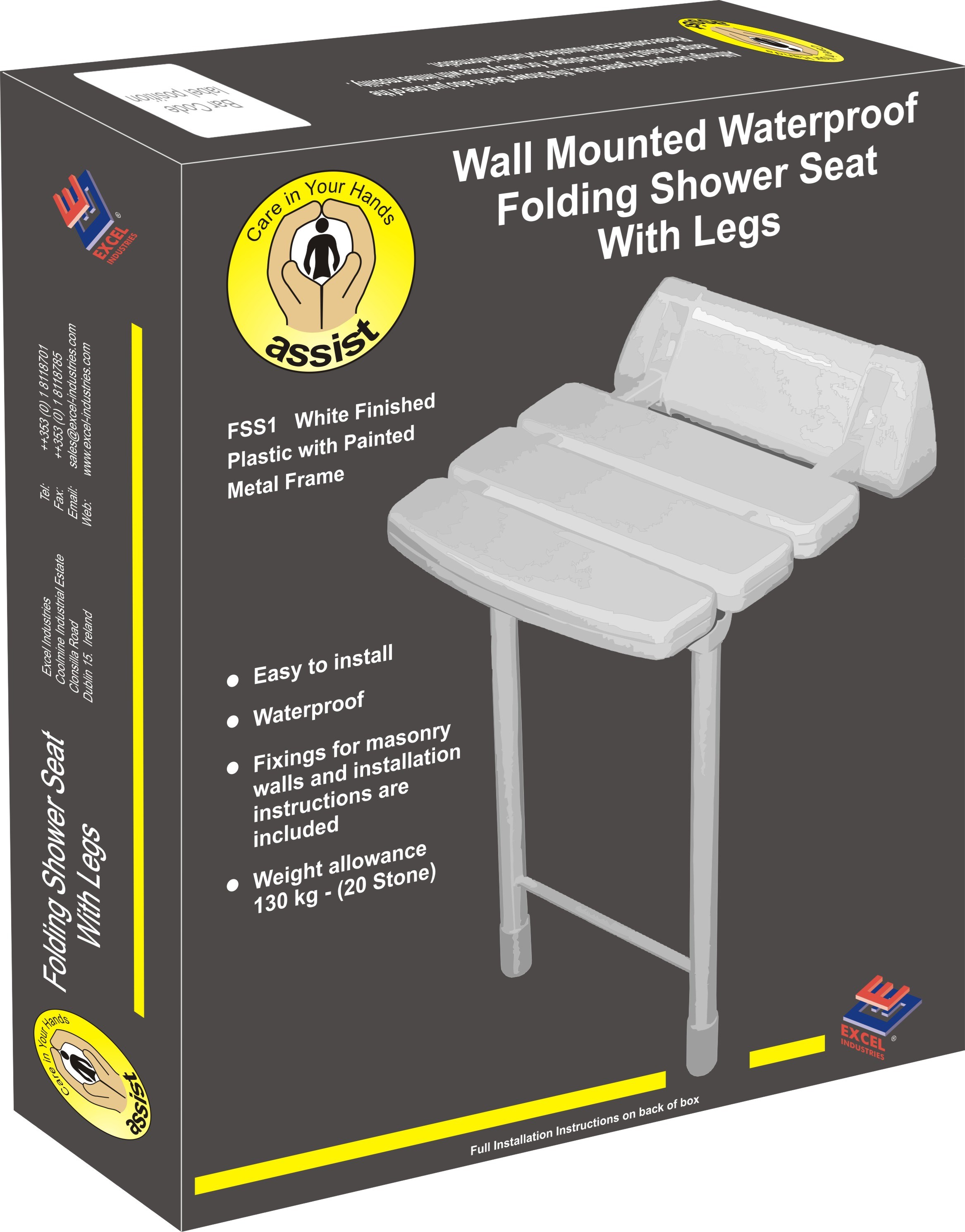 Assist Wall Mounted Folding Shower Seat with Legs - 330mm | Bathroom ...