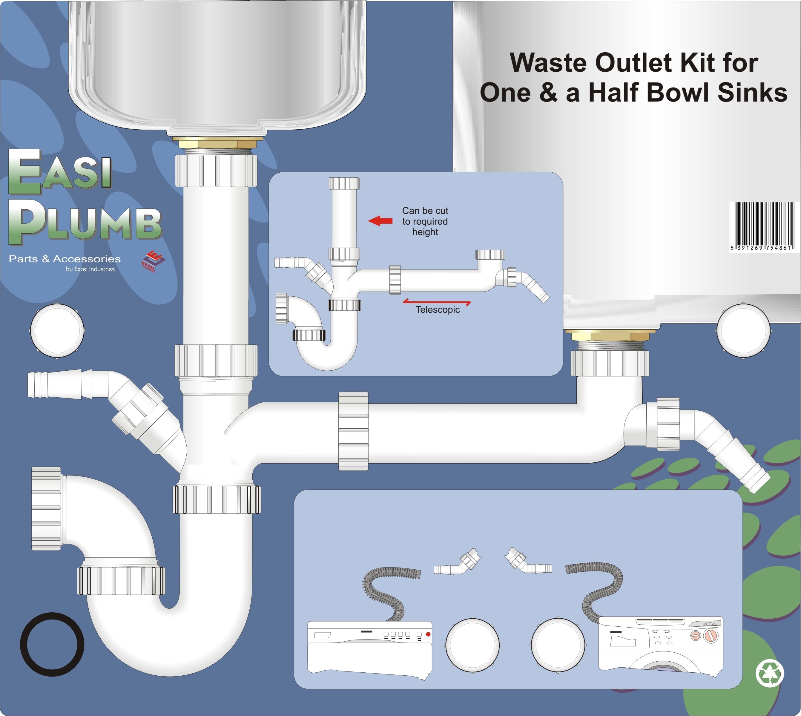 Easi Plumb Waste Outlet Kit for One-and-a-Half Bowl Sink - 1.5in ...