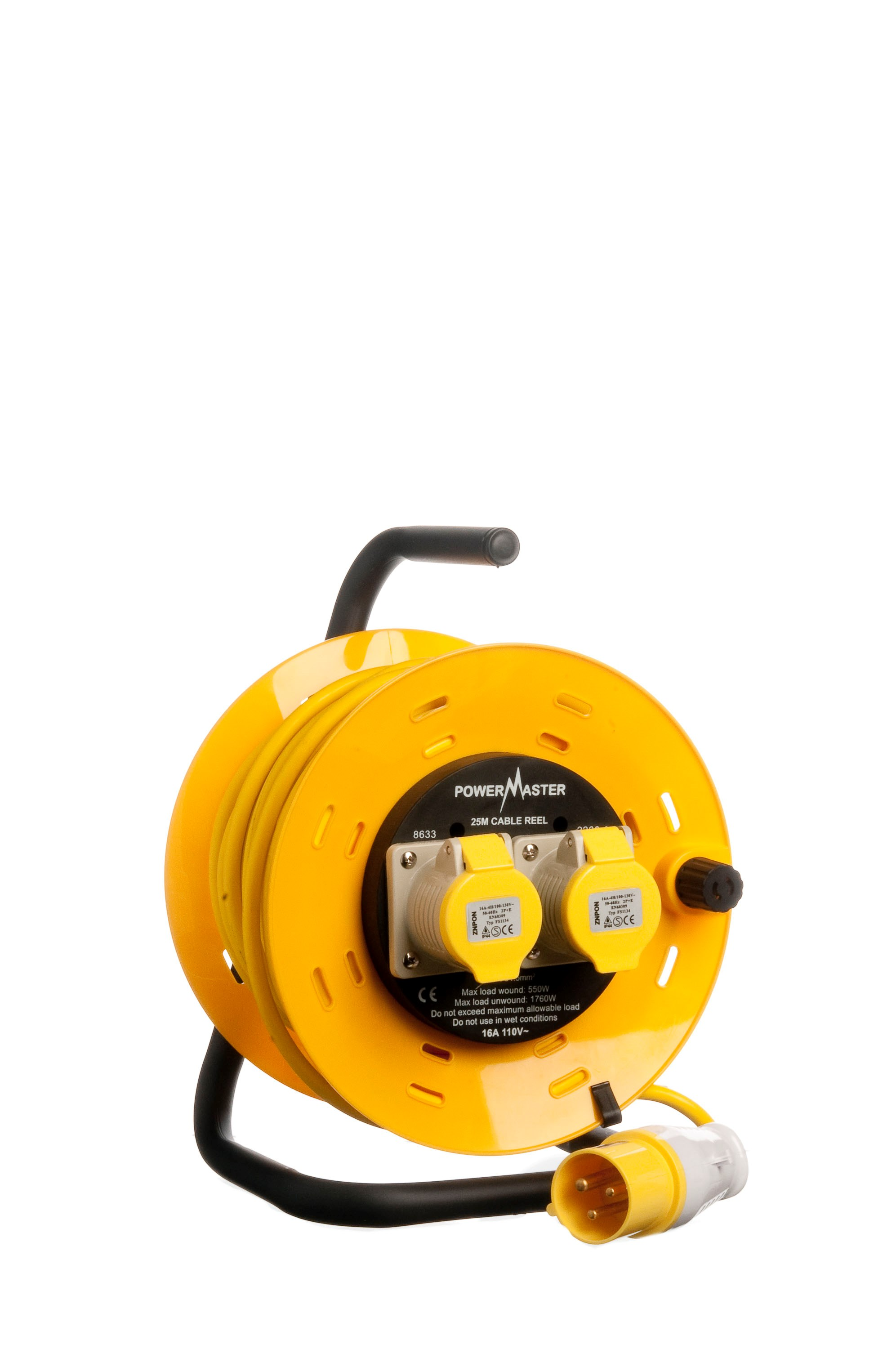 Powermaster 25m Open Cable Reel Cassette 16 Amp 2 Gang