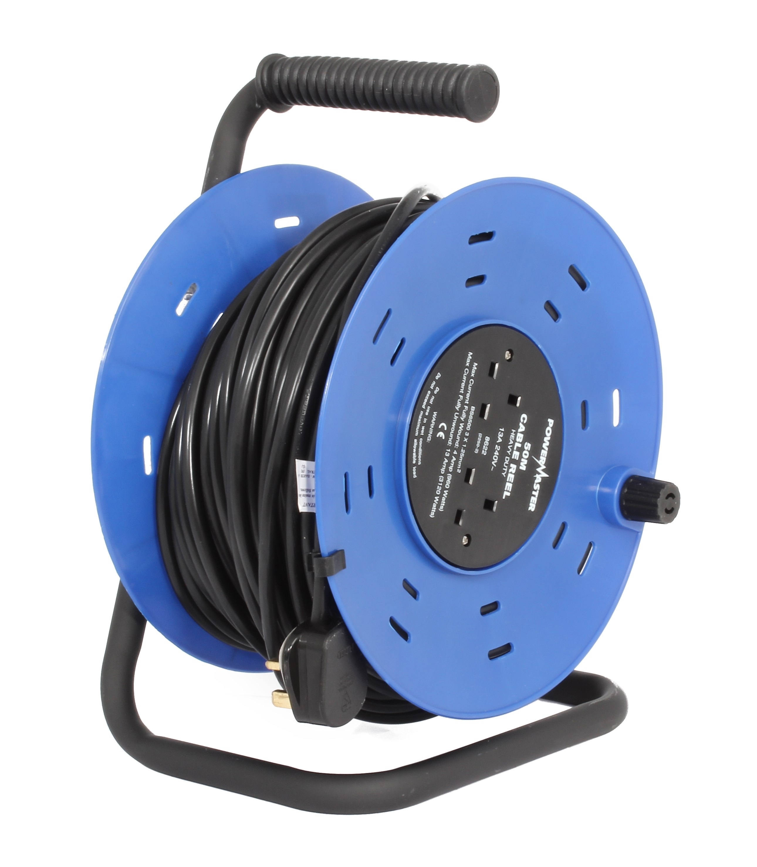 Powermaster 50m Open Cable Reel Cassette 13 Amp 2 Gang