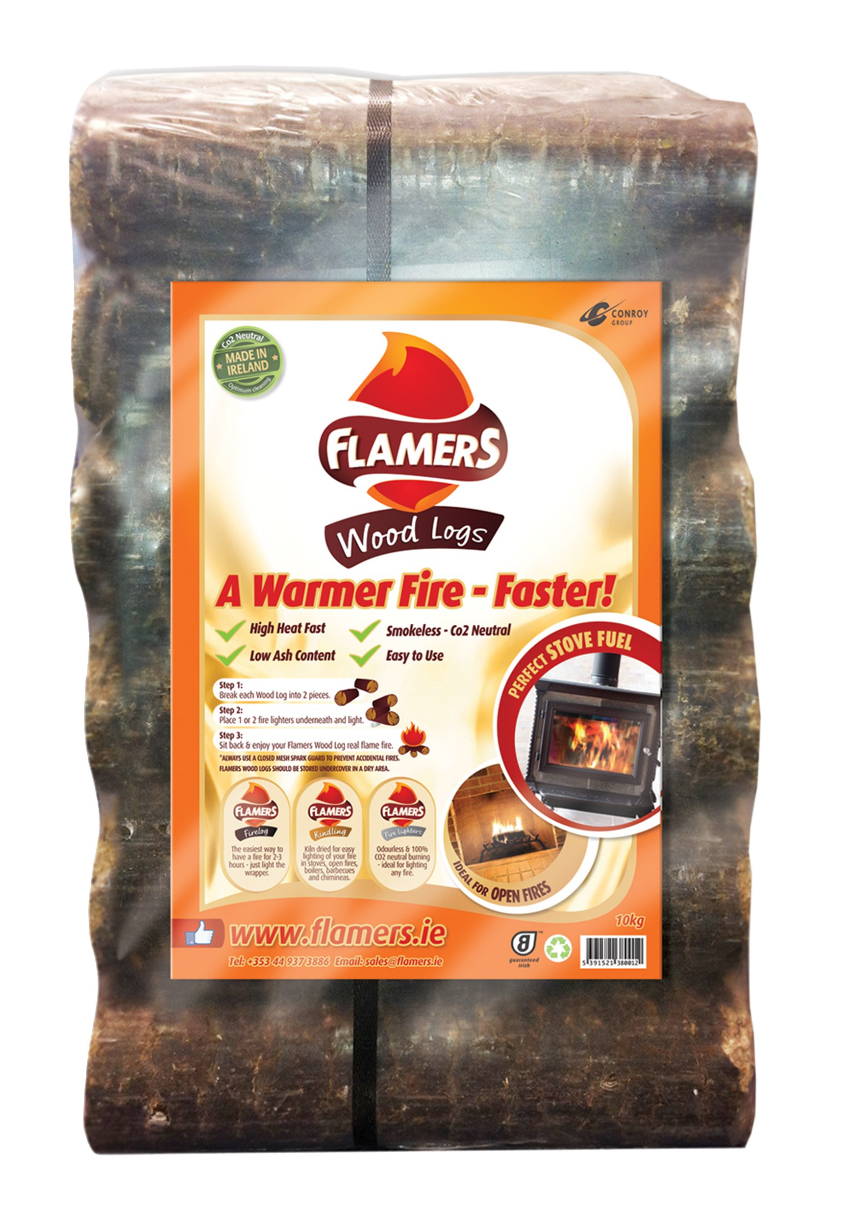 Flamers 6 Smokeless Wood Logs 10kg Briquettes