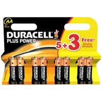 Duracell  Plus Power AA Batteries - 5 Pack + 3 FREE