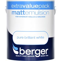 Berger  Matt Emulsion Brilliant White Paint - 3 Litre