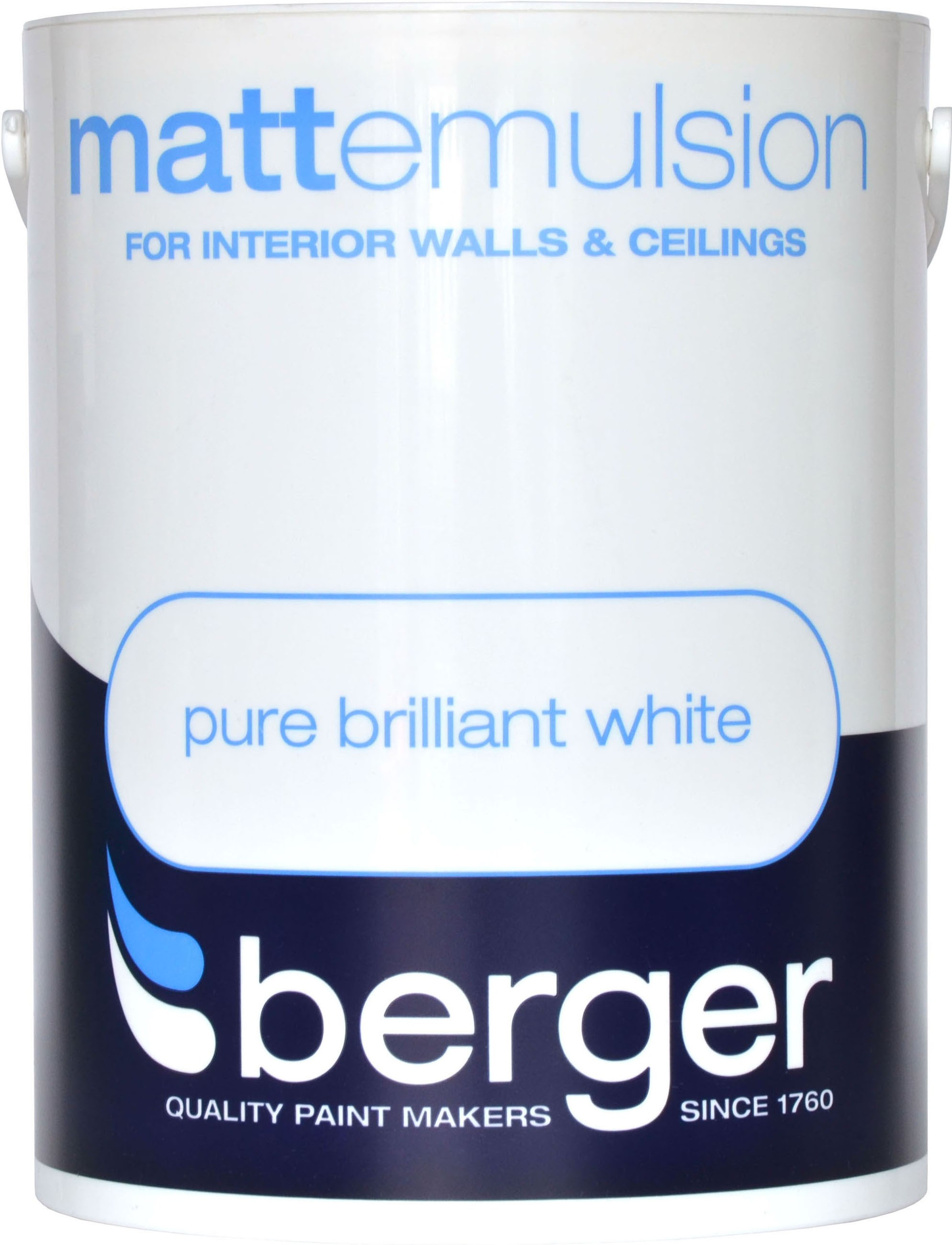 Berger Matt Emulsion Brilliant White Paint 5 Litre