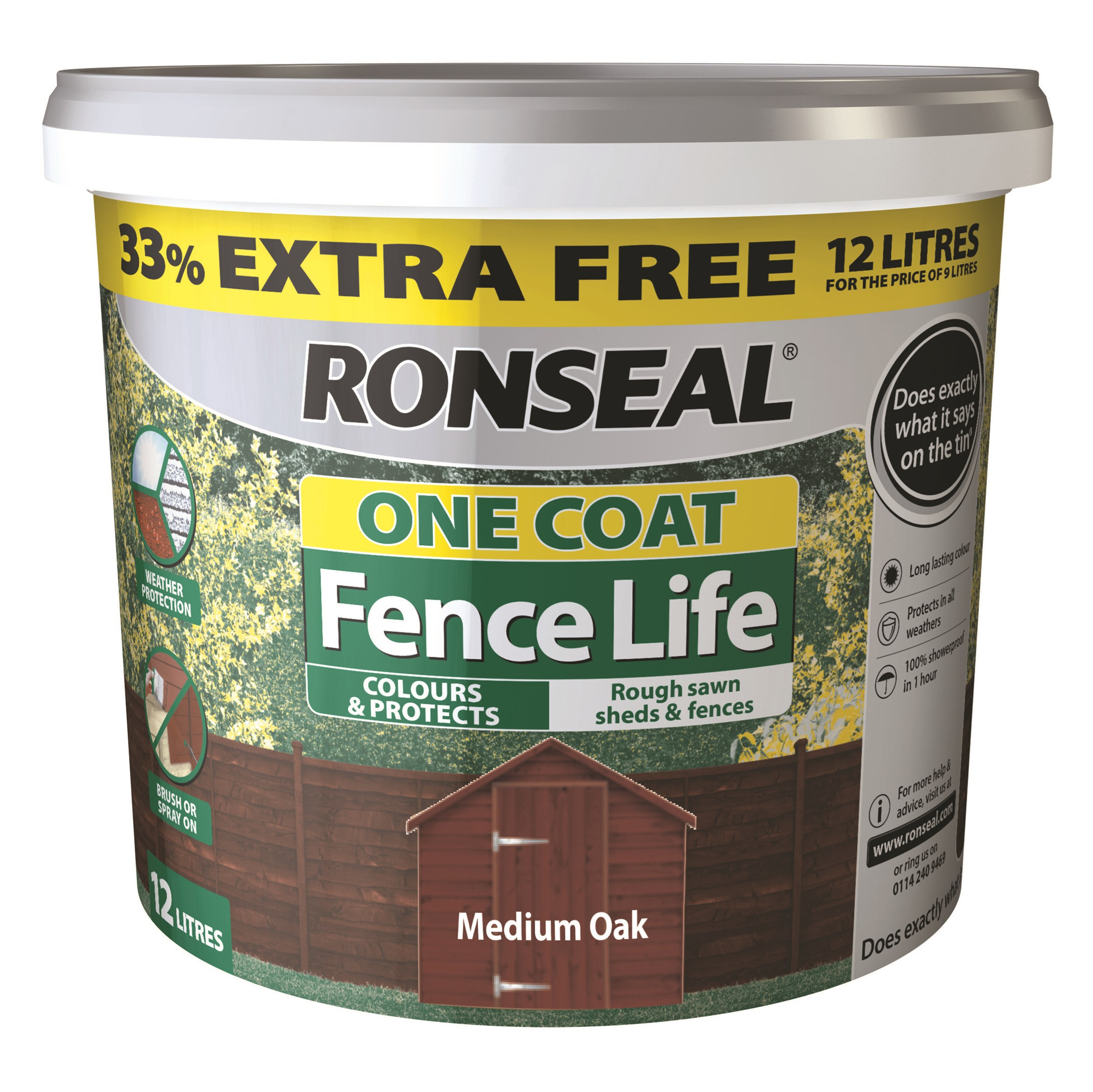 Ronseal  One Coat Fence Life - 9 Litre + 33% Extra Free