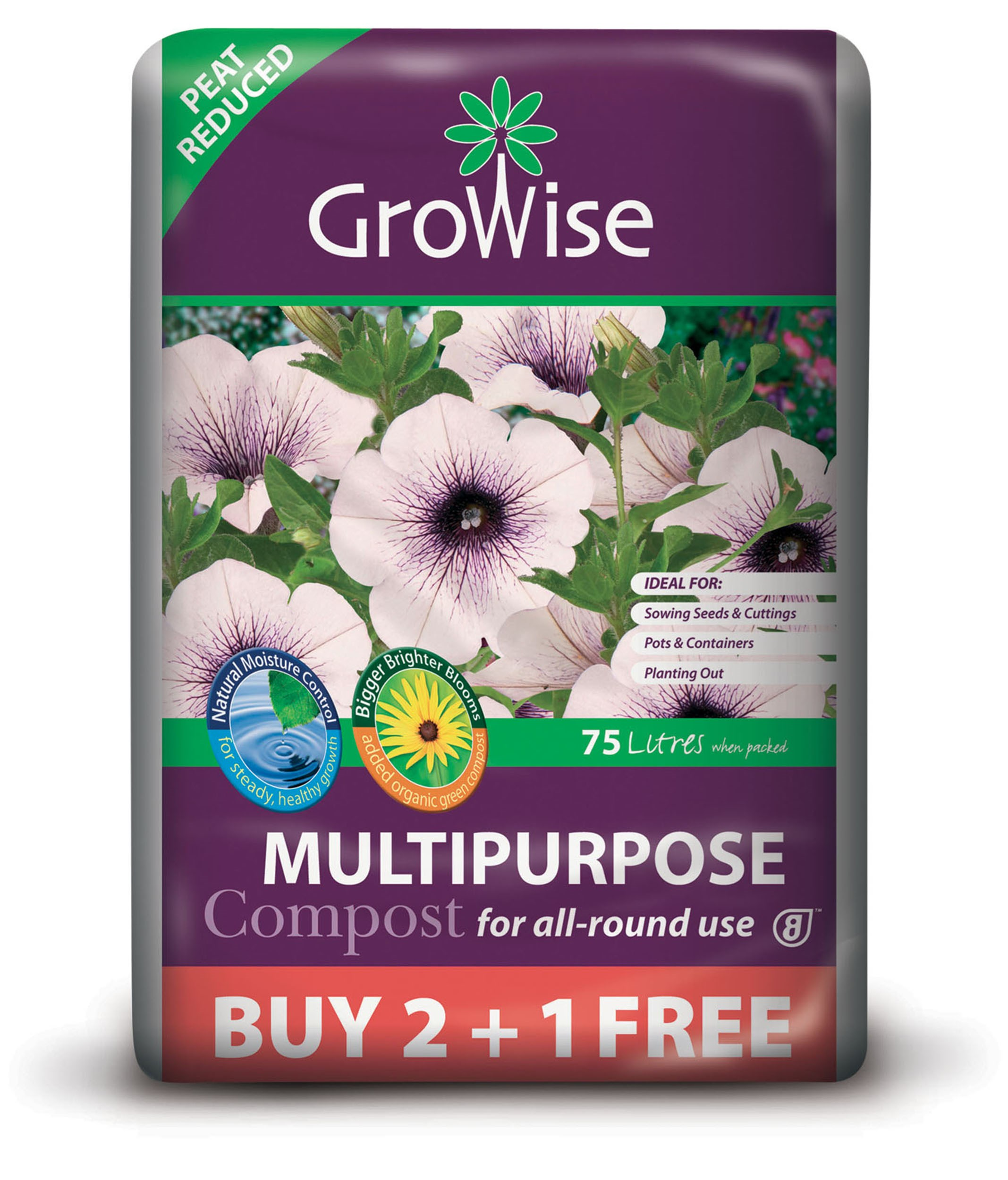 Bord na Móna Growise Multi-Purpose Compost 75 Litre - Buy 2 Get 1 Free
