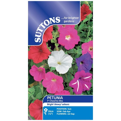 Suttons  Petunia F2 Cheerful Mix Flower Seeds