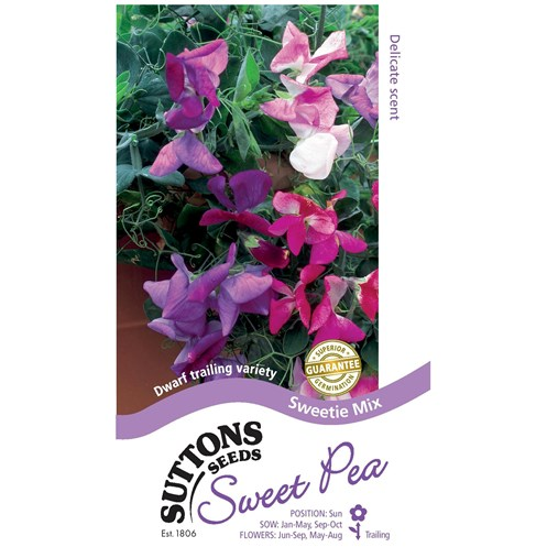 Suttons  Sweet Pea Sweetie Mix Flower Seeds