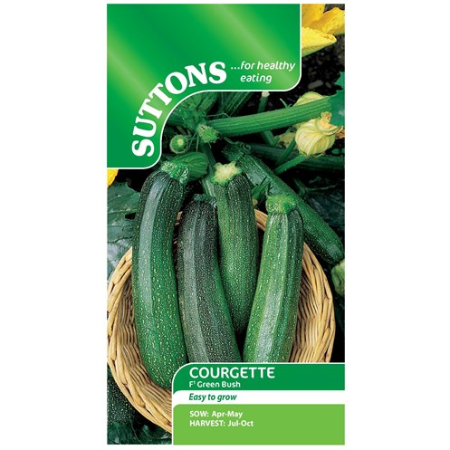Suttons  Courgette Green Bush F1 Vegetable Seeds
