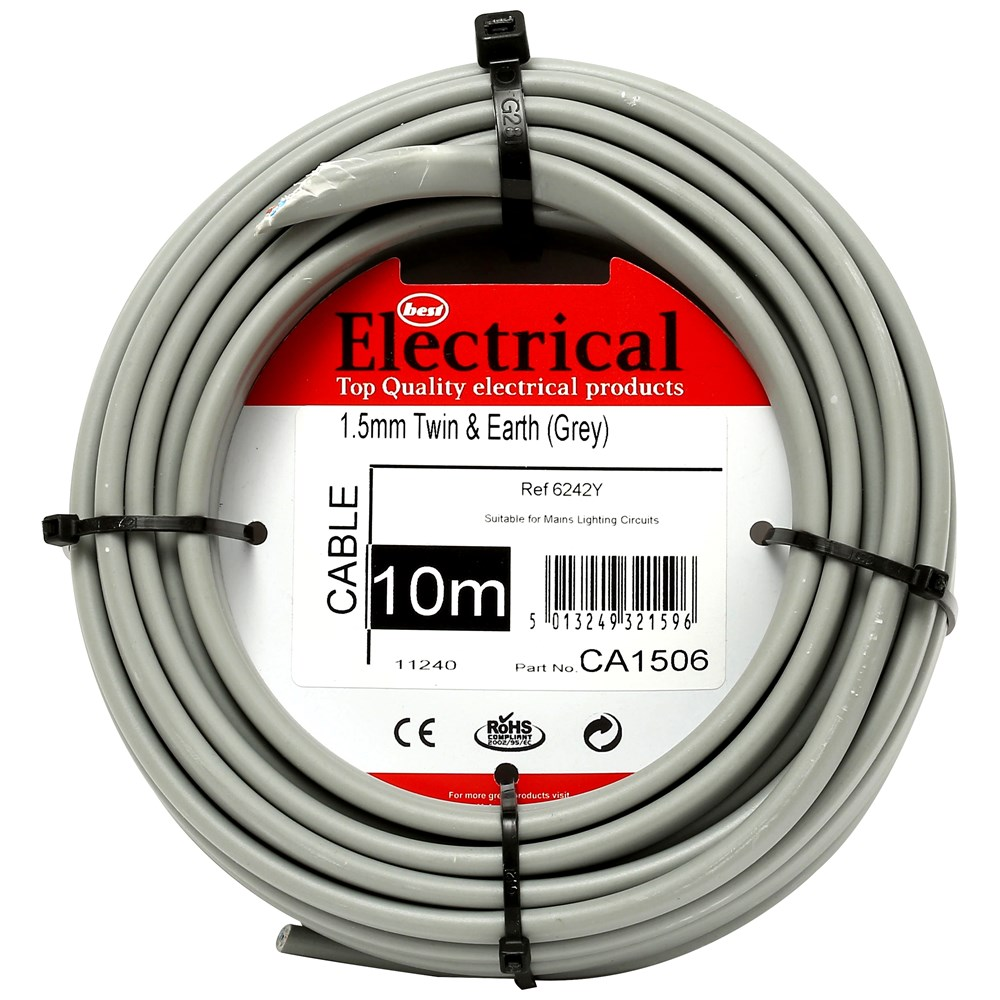 Best Electrical Twin Amp Earth Grey Wiring Cable 1 5mm
