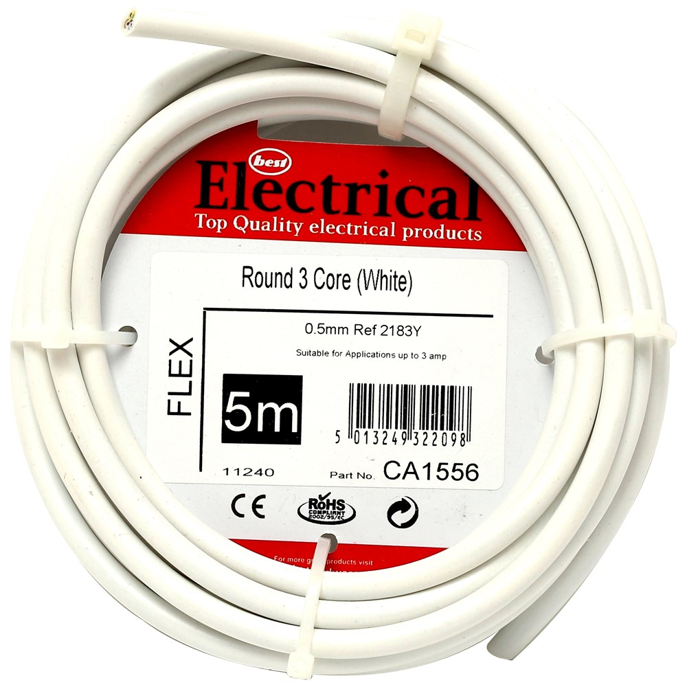 Best Electrical Round 3 Core Pvc Flex Cable 15mm White Wiring And Cables