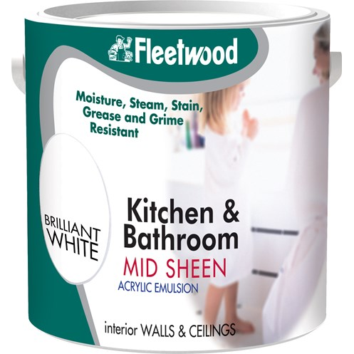 Fleetwood Kitchen and Bathroom Acrylic Eggshell Brilliant White Paint - 2.5 Litre