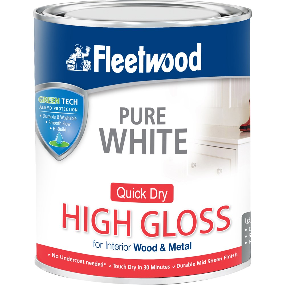 fleetwood high gloss brilliant white paint 750ml gloss. Black Bedroom Furniture Sets. Home Design Ideas