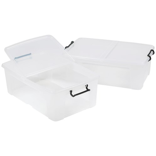 Strata  Smart 50 Litre Storage Box with Lid - Clear