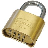 Faithfull  Brass Combination Padlock - 50mm