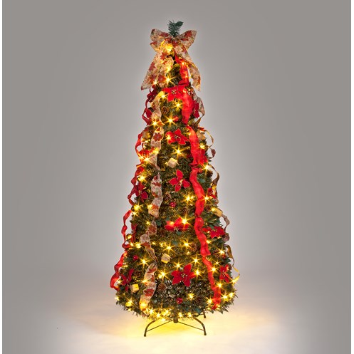 snowtime traditional pre lit pop up tree 6ft - Pre Lit And Decorated Christmas Trees