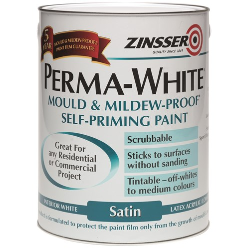 Zinsser  Perma Interior Satin White Paint - 5 Litre