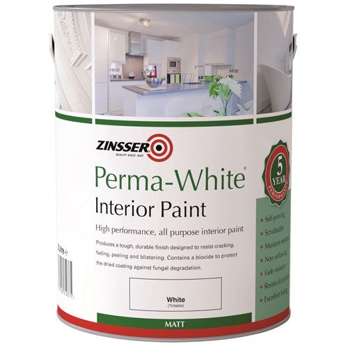 Zinsser  Perma Interior Matt White Paint - 5 Litre