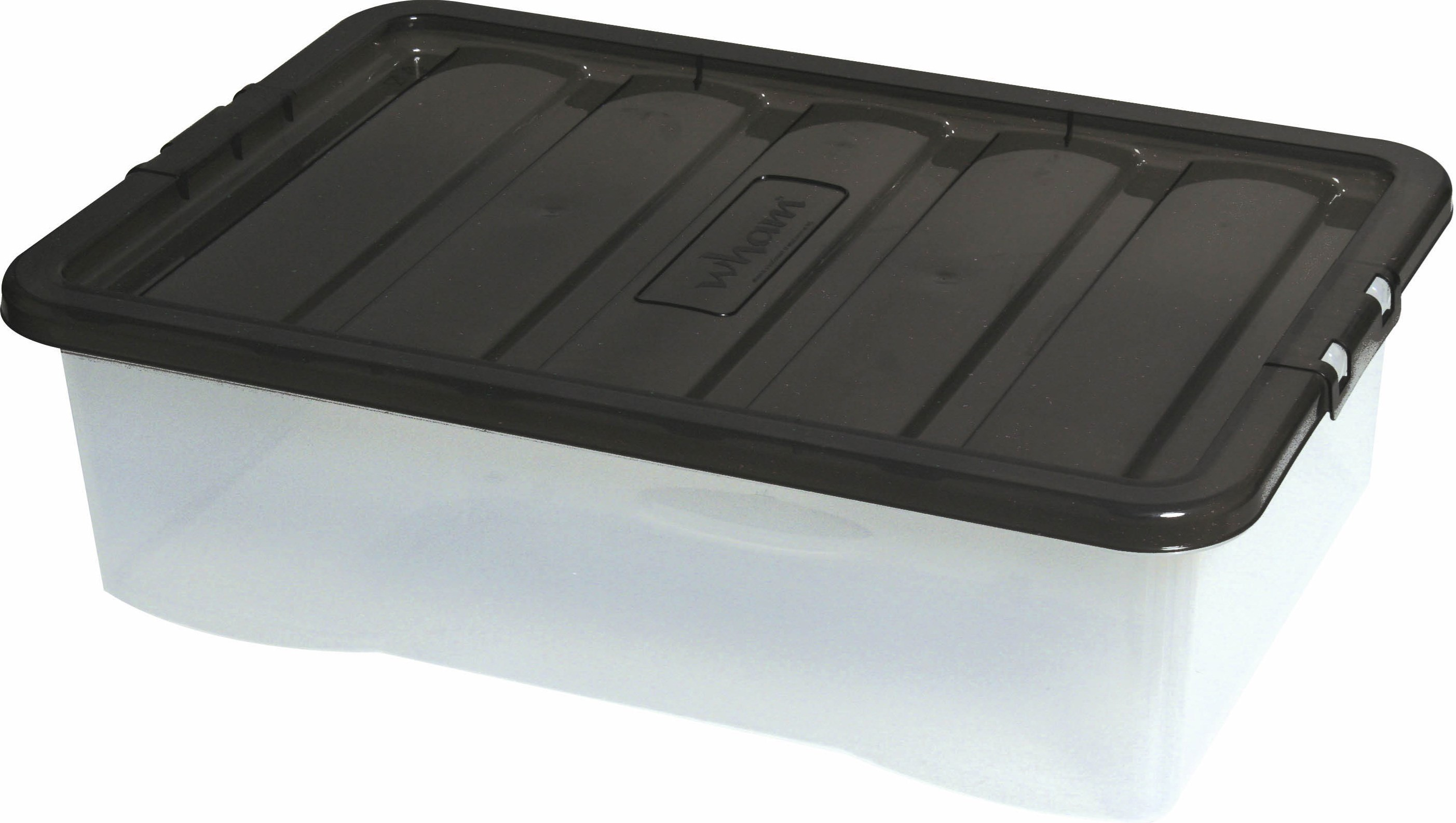 Wham Fusion Underbed Clear Storage Box Black Lid 32 Litre