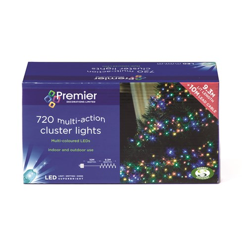 premier decorations 720 led cluster lights multi coloured