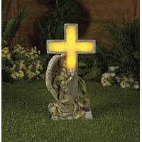 Premier Decorations  Angel with Solar Light Cross