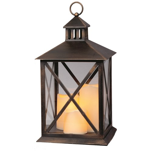 premier decorations lantern with 3 dancing flame candles 40cm