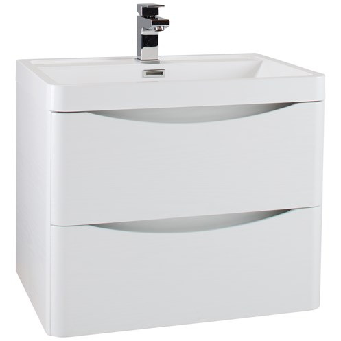 Bali 60cm Wall Hung Vanity Unit & Basin Ash White