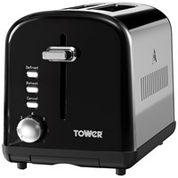 Tower  2 Slice Black Stainless Steel Toaster