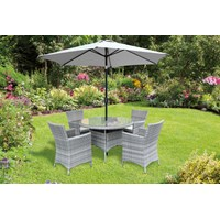 Capri 4 Seater Round Rattan Furniture Set - 1.1m