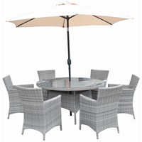 Capri 6 Seater Round Rattan Furniture Set - 1.4m