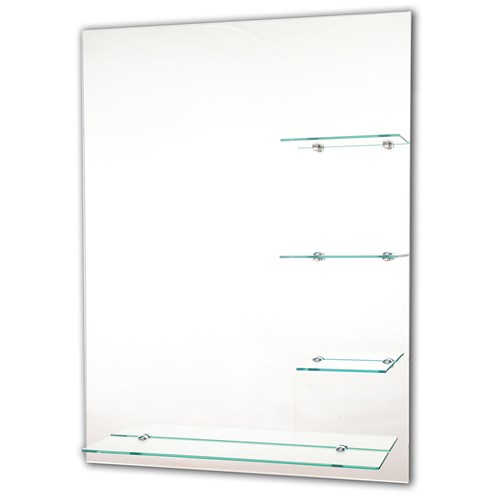 Tema Bevelled Rectangular Mirror with 4 Shelves - 80 x 60cm ...