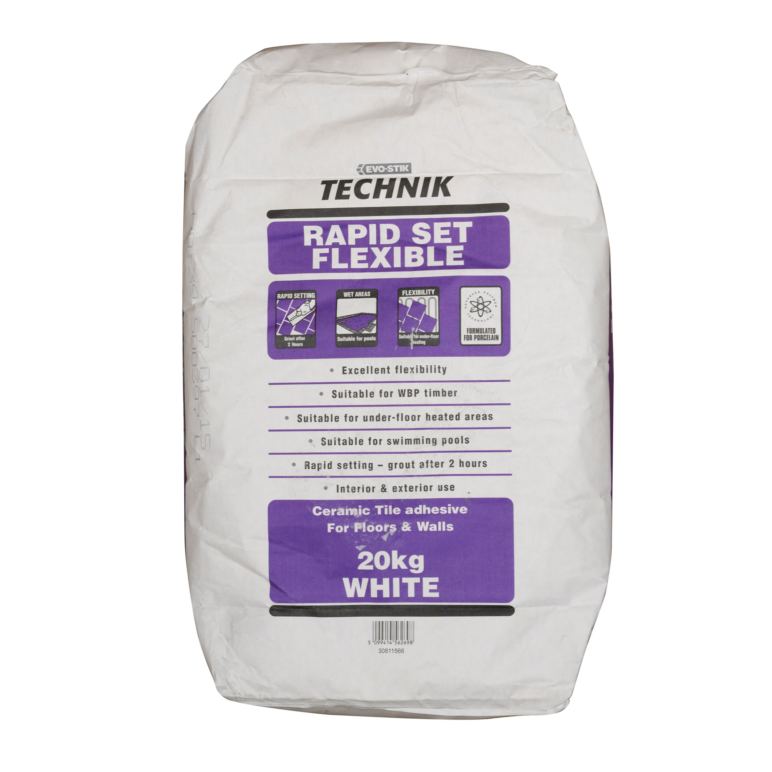 Evo-Stik Technik Rapid Set Flexible Wall & Floor Grout 20kg - White